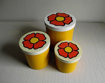 Retro Mod Canisters , Set of 3 Melamine Canisters , Nesting Canisters , Yellow Flower Power Kitchen Decor , Poppy Flower Lids