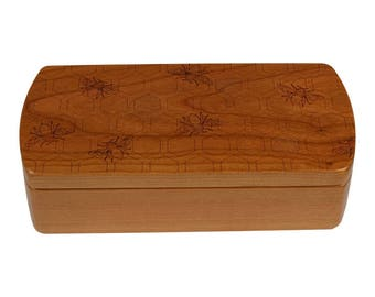 Bees Pattern Wooden Storage Box, Solid Cherry, Pattern M16 laser engraved, Paul Szewc, Masterpiece Laser