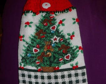 Festive Christmas tree & teddy bears printed towel with red crochet yarn top - ctk