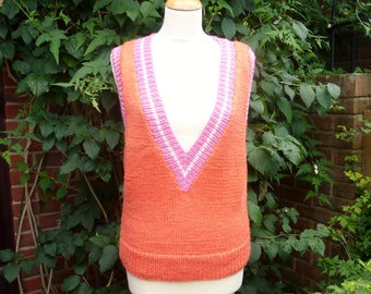 Brand new hand knit sleeveless top/sweater in tangerine orange with pink and white contrast borders. UK 14 US 10-12.