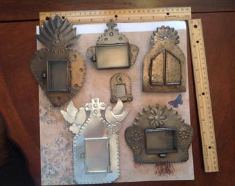 Set of SIX!!! Tin and Glass Nichos.
