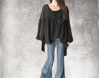 Black blouse chiffon/Peasant top/adjustable Long sleeve bows/keyhole front