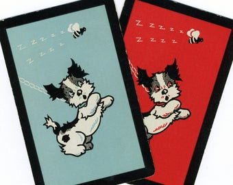 BUZZZZING BY (2) Vintage Playing Cards Single Swap Paper Ephemera Scrapbook