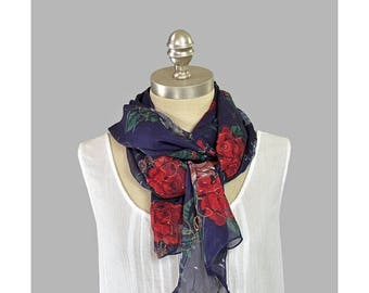 SALE - Long Floral Scarf Sheer Chiffon Scarf Purple Violet Red Rose Print with Gold Glitter Oblong Long Summer Scarf