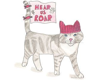 Pussy cat in a pussyhat art print, resist, persist, womens march empowerment, hear us roar, resistance, kitty hat, pink, feminist activism