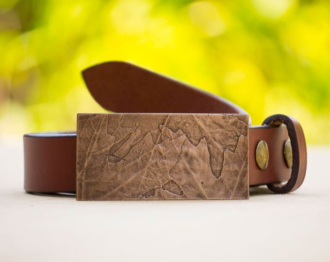 "Maple 1.5"" Bronze Belt Buckle and Top Grain Leather Strap"