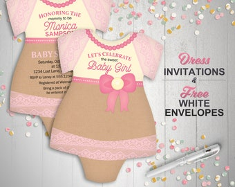 Burlap and Lace Baby Shower Invitations, bodysuit Invitations, baby girl shower invite, Dress, tutu, baby pink, set of 10 with envelopes