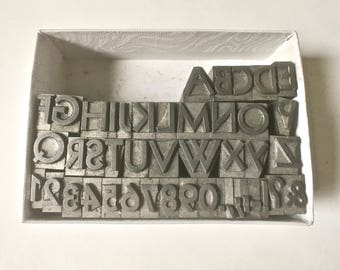Vintage Letterpress Type 24pt. Capitals and Numbers and Punctuation for Stamping Printing and Clay Stamping