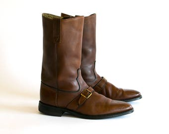 Vintage 1960's Tall Brown Leather Buckled Motorcycle Boots Men's Size 10 11 D / Retro / Beatle Boots