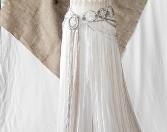 Chiffon ivory degraded orange Colorado wedding skirt