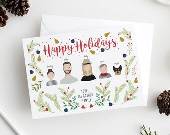 Christmas Card with Family Portrait | Family Holiday or Christmas Portrait | Custom Family Portrait Illustration | Holiday Card