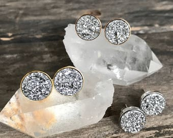 Druzy Studs, Druzy Stud Earrings, Druzy Earrings, Druzy Quartz, Post Earrings, Druzy Jewelry, Stud Earring, Rose Gold Earrings
