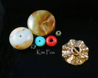 Round Single Strand Secure and Easy to Use Toggle with Sea Urchin Pattern-in sterling silver and golden bronze - single loop by Kim Fox