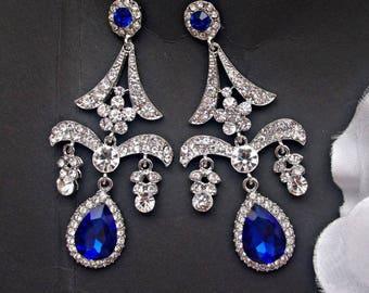 Bridal chandelier earrings blue earrings wedding blue drop earrings bridal cobalt blue jewelry crystal earrings bridal art deco earrings