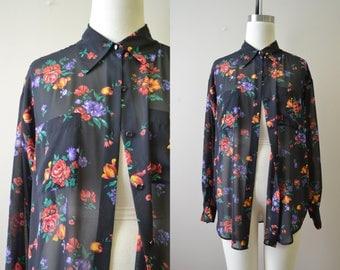 1990s Gap Black Floral Sheer Blouse