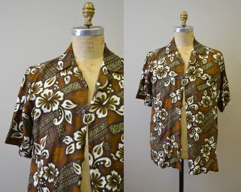 1990s Brown Hawaiian Print Shirt