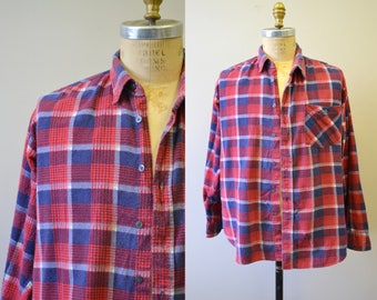 1980s Red and Blue Plaid Flannel Shirt