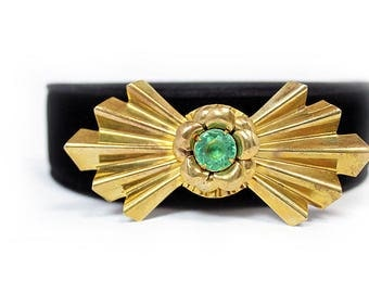 Art Deco Brass Brooch with Green Plastic Cabochon, ca. 1940s