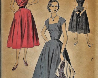 Vintage 1950s Or 1960s Advance 6371 Fitted Dress Full Skirt Square Neck Sewing Pattern Size 16 Bust 34