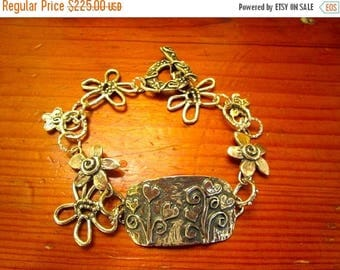 Divine All STERLING Silver Artisan Handmade 7-FLOWER Links/Charms, Embossed Multi Flower Foci Plaque, Floral Toggle Charm Bracelet