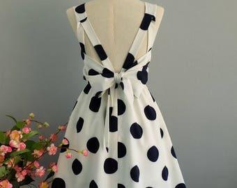 Flash SALE White dress navy polka dot dress white party dress white prom dress bow back dress white bridesmaid dresses polka dot bridesmaid