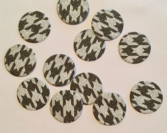 """1"""" pre-cut GLITTER CIRCLE CONFETTI (100 pc)  --  Black/Silver Houndstooth --  create you own garland, envelope seals, favor tags & more!"""