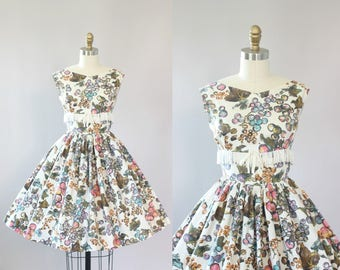 Vintage 50s Dress/ 1950s Cotton Dress/ Fruit Print Cotton Dress w/ Fringe and Bow S
