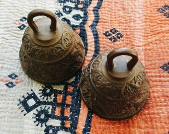 Pair of Vintage Brass Religious Ceremonial Bells from France - French Latin Sanctuary Bells - Bohemian Eclectic Decor
