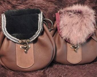 In Stock XLarge Economy Sporran Design Leather Belt Bag / Pouch Medieval, Bushcraft, Costume, Ren Faire, Fur Flap