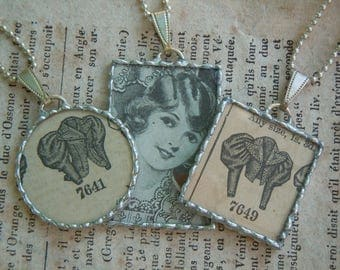 Fiona & The Fig - SUPER SALE - 2 Victorian Pattern Charms - 1 Art Deco Flapper - Soldered-Pendant-Jewelry