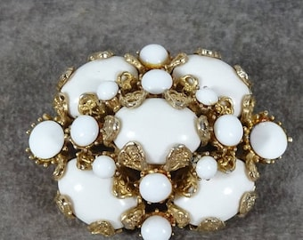 25% Off Huge Chunky Rare Hollycraft Milk Glass Brooch Very Rare Gold Plated Setting