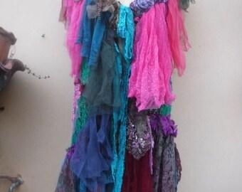 "20%OFF gothic bohemian boho lagenlook jacket gypsy crochet vest ....work of art!! medium to 44"" bust...."
