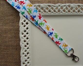 Fabric Lanyard- Bright Cats on White