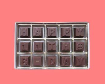 ship AFTER 8/7 11th Birthday Gift Boy Girl 11 Year Old Kid Child Birthday Party Gift Idea Creative Way Happy 11th Birthday Milk Chocolate Me