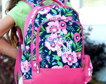 FREE pencil pouch offer FREE monogramming - Personalized Monogrammed Full sized Embroidered Hot Pink Posie Flowers Backpack Bookbag