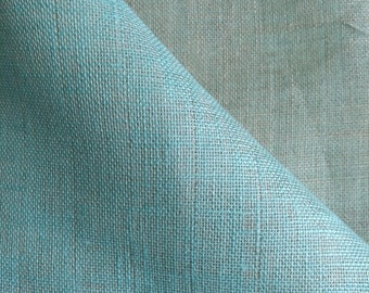 LINEN Fabric - DOUBLE face Gray  and light marine color 0.55M