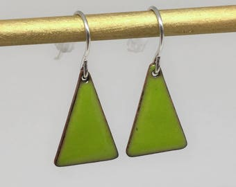 Bright green triangle enamel earrings hand made simple colorful earrings