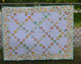 Patchwork Baby Quilt, Baby Blanket, Toddler Quilt, Baby Girl Blanket, Pastel pink green yellow
