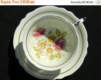 ON SALE Vintage Paragon Double Warrant Footed Wide Mouthed Floral Rose Tea Cup - Teacup and Saucer 13029