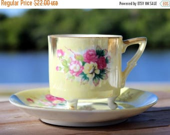 ON SALE Iridescent Teacup, Cup and Saucer, Pearlized Teacup, Tri Footed, Unmarked Japanese Tea 13851