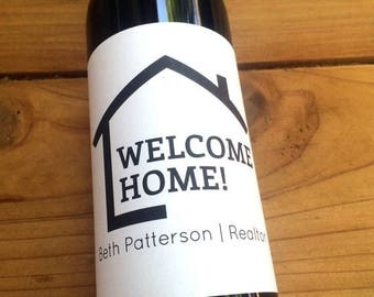 New Home Wine Labels, Realtor Favor, Wine Labels, Housewarming Gift, New House, Realtor Gift, Open House, Welcome Home, Gift, Promotion