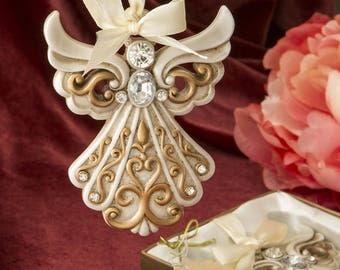 1 Antique Ivory Angel Ornament Wedding, Baby Shower, Gold Filigree, Favor Party Present Christmas Holidays Baptism Christening, Custom Tag