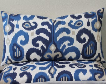 "SET Of TWO - 12"" x 22"" Lumbar Pillow Covers - Duralee Ikat in Shades of Blue, Tan and Off White"