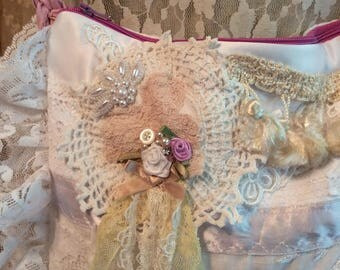 Shabby Clutch Purse, white antique rose pink, handmade lacy romantic bag victorian chic embellishments ruffle laces bridal bag wedding