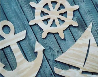 Unfinished Wood Nautical - DIY Summer - Decor - Home Decor - Beach House Decor - Wood Decor - Door Hanger - Lake House