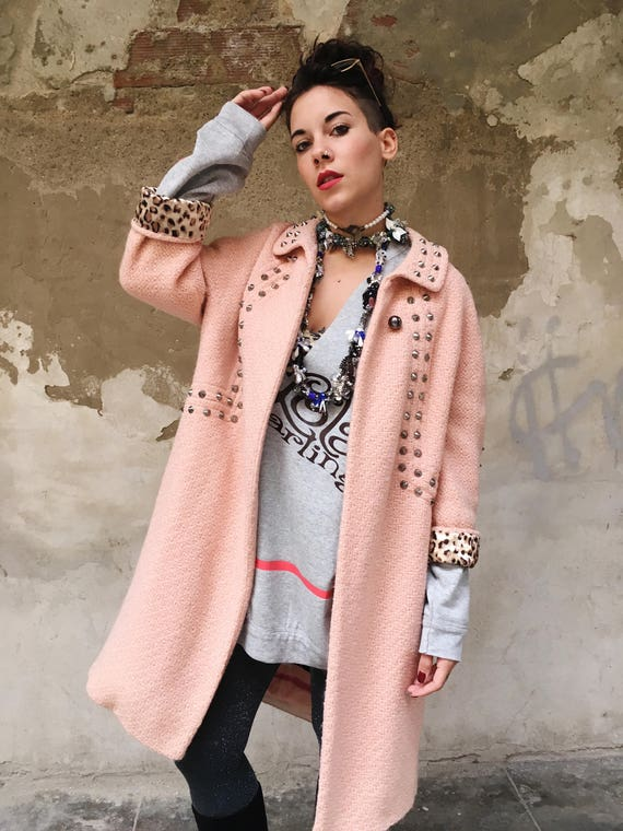 Pink Salmon Coat Spring Overcoat boucle wool with metal Studs LOLA DARLING MUTAZIONI
