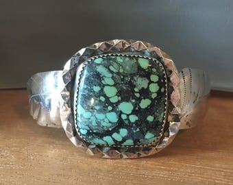 """TURQUOISE STERLING SILVER 1980s Taxco Cuff 29.5 Grams Bracelet Large Wide for 6.5"""" Wrist"""