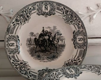 Six Antique Vintage Napoleon III Black and White Transfeware Plates from Boch La Louviere, Belgium