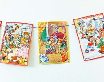 Noddy Bunting. Kid's garland, Playroom decor, Nursery decoration, Reclaimed book banner