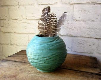 Mid Century Pottery Modern Signed Pottery Round Vase Textured Planter